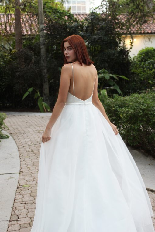 low back ball gown with organza skirt wedding dress