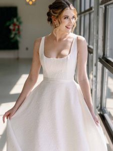 dimensional brocade wedding gown