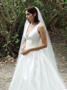 low square neck low back wedding gown