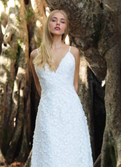 dimensional woven fabric low back wedding gown