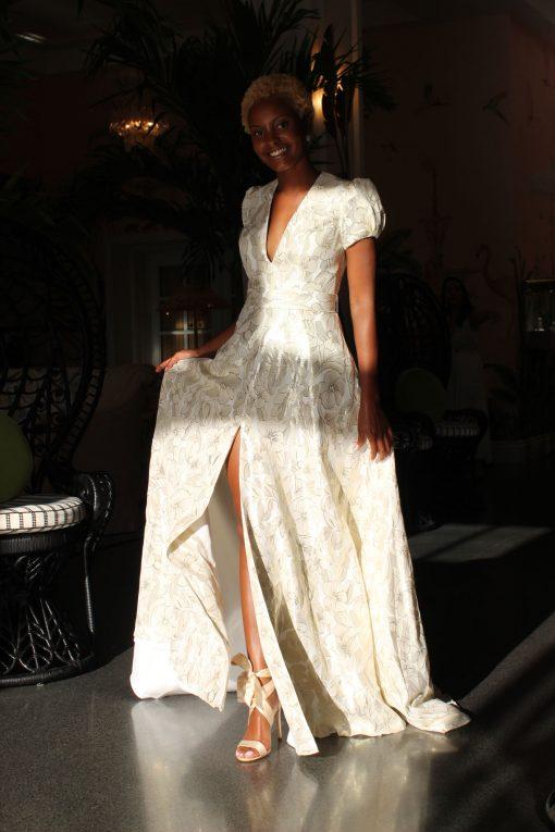 silk blend puffy cap sleeve wedding dress