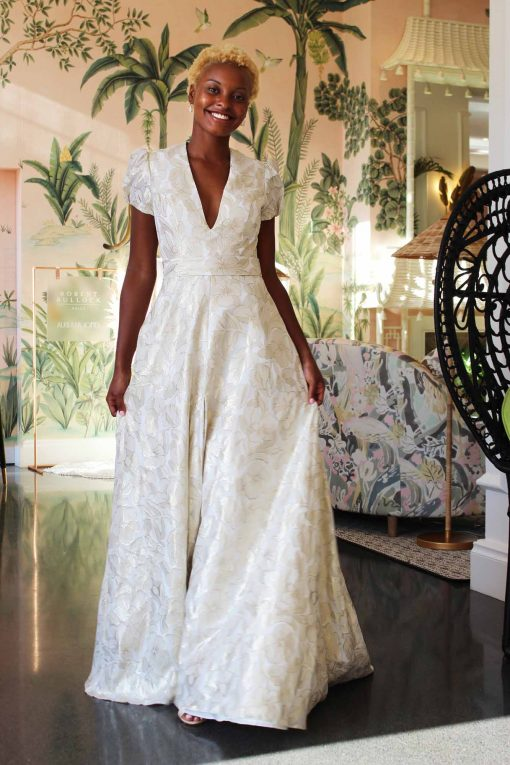 cap sleeve wedding gown with front slit