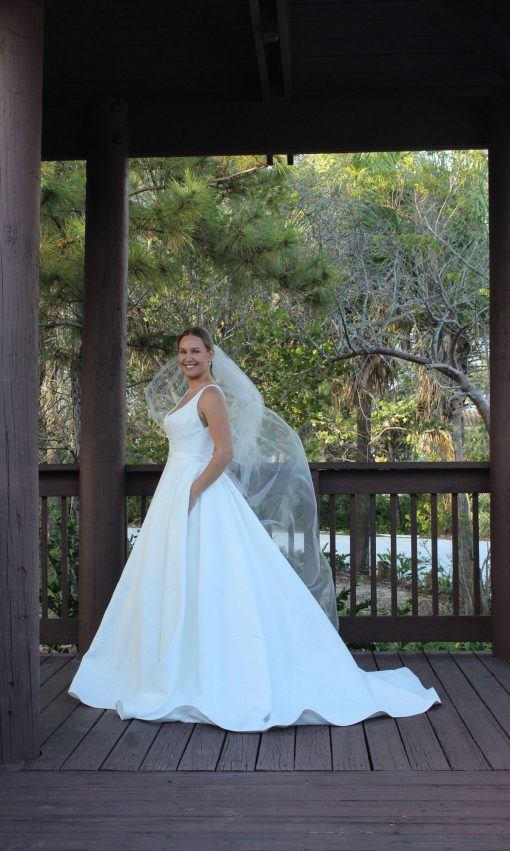 square neck ballgown wedding dress with pocket Robert Bullock