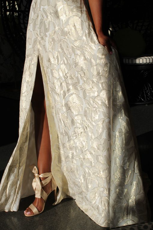 silk blend metallic lace wedding dress