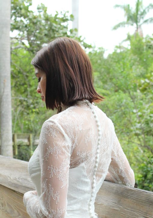 lace jacket buttons detailed wedding accessory