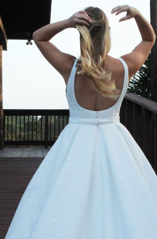 low back dimensional brocade ballgown