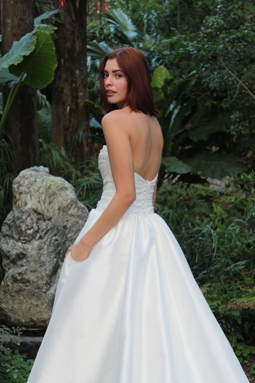 strapless ruched ballgown with pockets