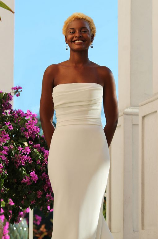 strapless crepe modified mermaid wedding dress Robert Bullock