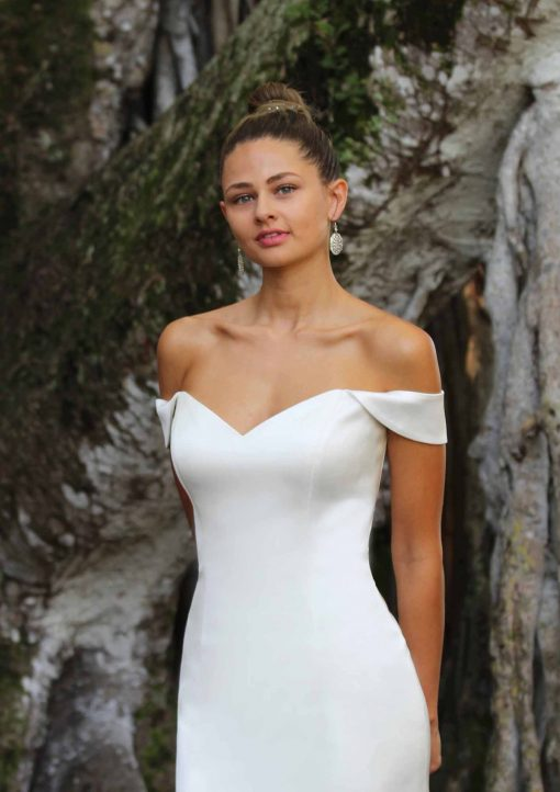 off the shoulder 4 ply crepe mermaid wedding gown
