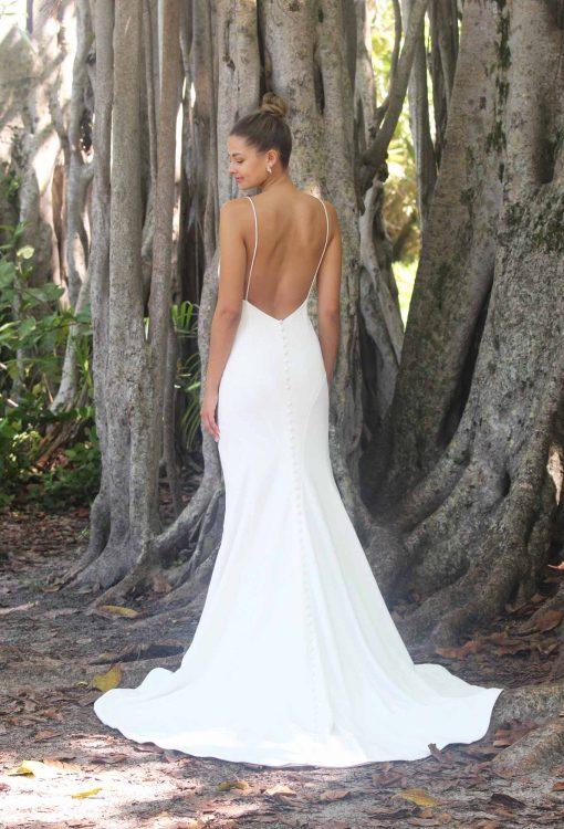fitted crepe mermaid wedding gown
