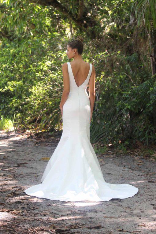 low back satin mermaid wedding gown