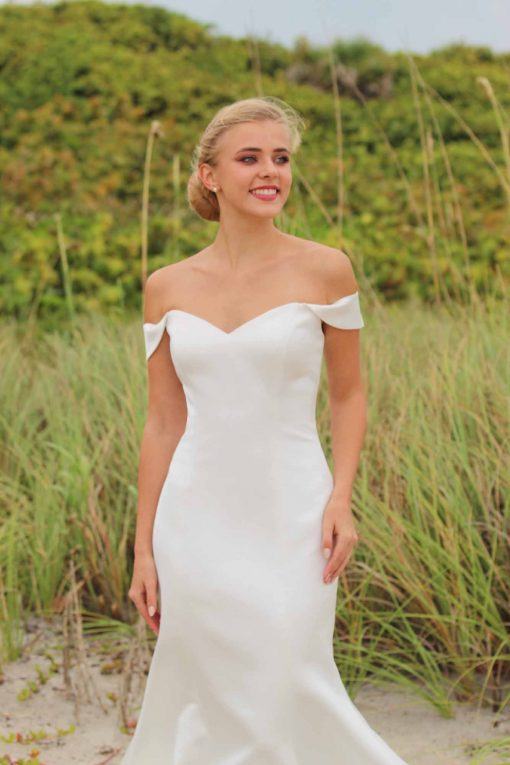off the shoulder crepe wedding gown
