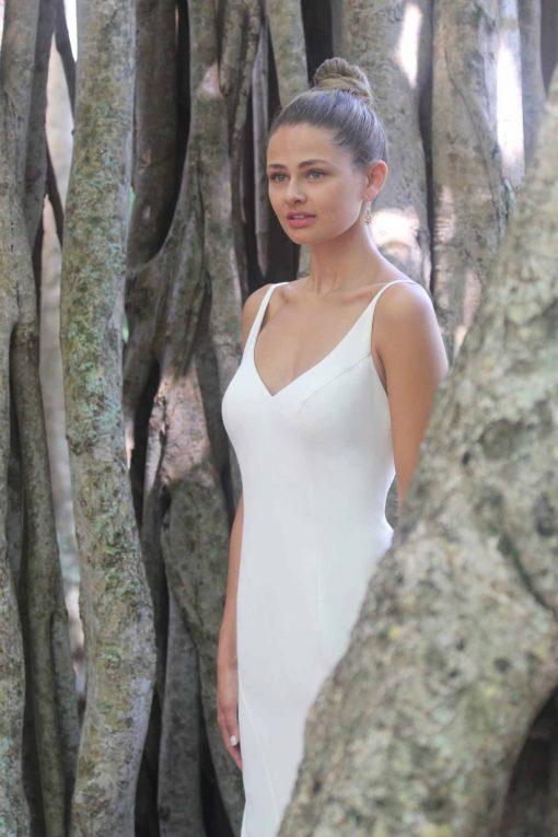 v-neck crepe mermaid robert bullock gown
