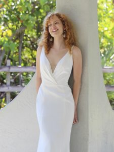 v-neck modified mermaid gown