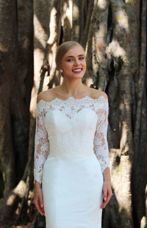 off shoulder lace wedding jacket